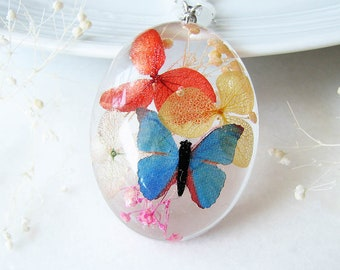 Butterfly Necklace Resin Jewelry Pressed Flower Necklace Real Flower Jewelry Statement Necklace