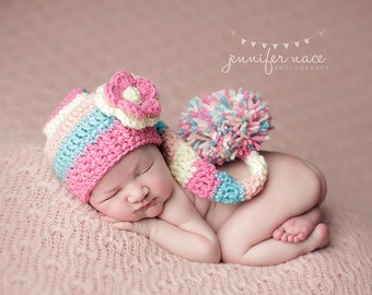 Baby Girl Elf Hat in Poodle Pink, Aqua, Cream, and Baby Pink