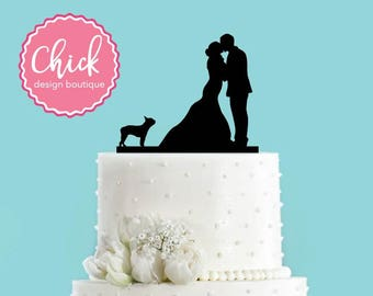 Couple Kissing with Boston Terrier Dog Acrylic Wedding Cake Topper