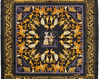 "HERMES SCARF Silk ""Early America"" by Françoise De La Perriere 90cm Carre 100% Auth"