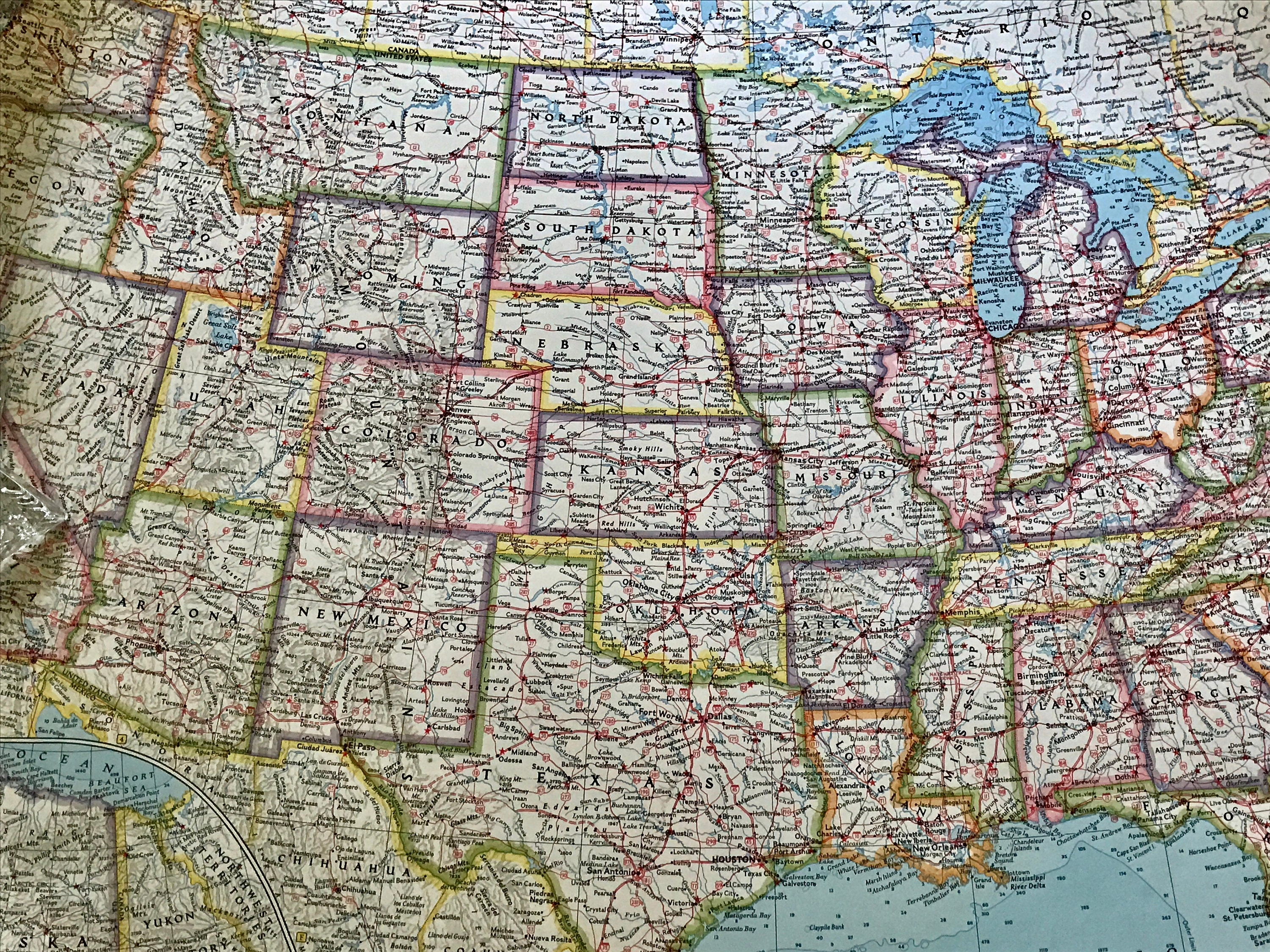 Vintage National Geographic Map The United States Copyright