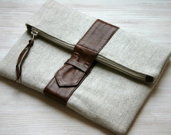 Fold over leather and canvas clutch brown Linen Fashion