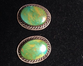 Vintage 925 sterling silver earrings with fine turquoise