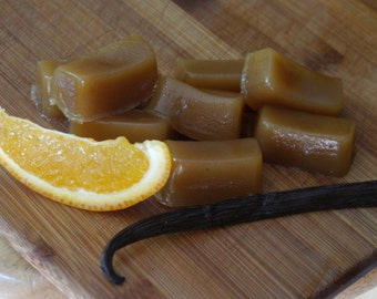 Vegan Organic Vanilla Orange Creamsicle Caramels