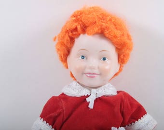 Little Orphan Annie, Vintage, Doll, Applause, Label, Red Curly Hair, Red Dress, Ceramic Head and Arms, Soft Body ~ The Pink Room ~ 170322