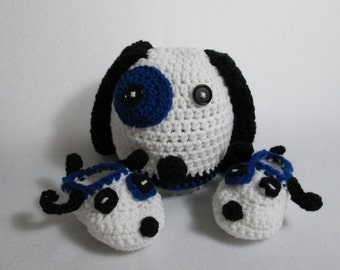 Baby Puppy Dog Hat Booties blue white black