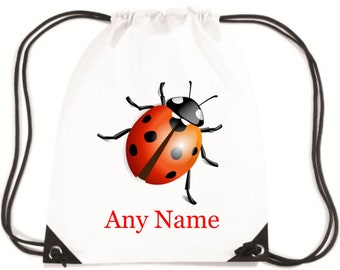 Personalised Ladybird/Lady Bug PE/Swim/Swimming/Gym/School Bag