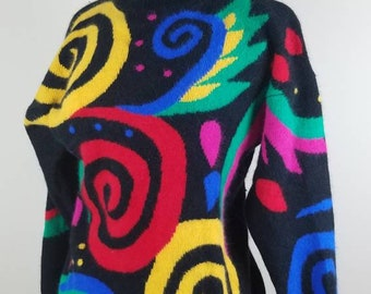 Lambswool sweater - 1980s colorful sweater - black Angora sweater - medium vintage sweater