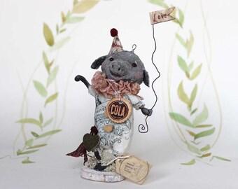 Nostalgische Primitive Folk Art Figur Schweinchen