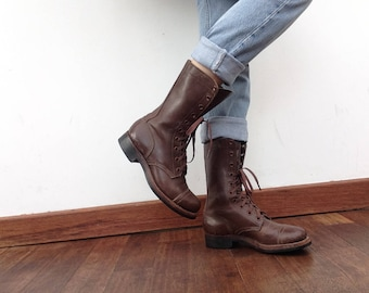 International Shoe Co. NY | Vintage | 1950s | Military Jump Boots  | Light Tread | Leather | Brown | Original | Womens 5 | Deadstock