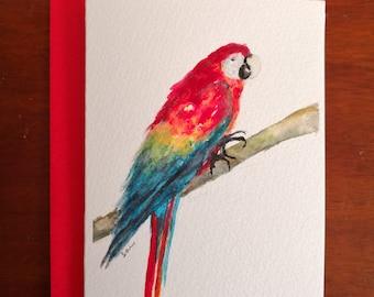 Parrot Bird Original Watercolour Painting Card A6