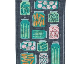 Tea Towel Calendar Set - pickled veggies tea towel calendar 2018 by Heleen_vd_thillart - Linen Cotton Tea Towel Set by Roostery Spoonflower