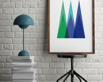 mountain poster, The mountains are calling, modern minimalist, printable wall art, instant download, color print, room decor, Blue, Green