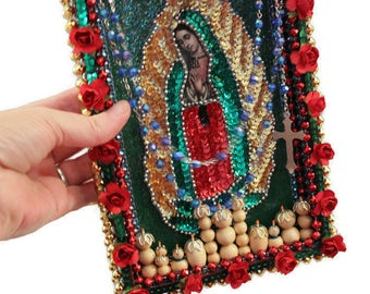 Guadalupe Wall Art, Sequined Guadalupe Patch, Mexican Mixed Media, Mexican Folk Art, Catholic Kitsch, Mexican Collage, Mexican Decor