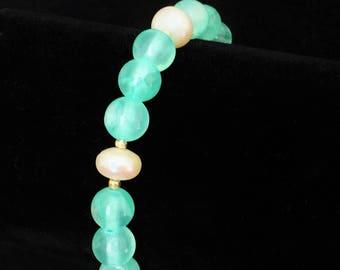 Jade bracelet, Aqua beaded bracelet