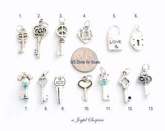 Key Charm, Your choice of Key Charm, Skeleton Key Charm, Heart Key, Owl Key, Pig Key, Pad Lock and Key, Padlock with Key - 1 Silver Pendant