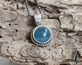 Aquamarine pendant, Bohemian silver necklace, gemstone necklace, little stone pendant, dainty pendant, casual necklace - Close to me N2007-1