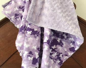 Minky and Flannel Baby Blanket - Butterflies