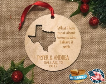 Personalized Texas Ornaments *** Home Ornament *** Family Gift *** Stocking Stuffer *** Personalized *** Christmas Holiday Ornament ***