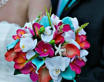 Beach Bridal Bouquet in Guava, Coral, Fuchsia, Malibu Blue  and White with Real Touch Plumeria,  Calla Lilies and Orchids