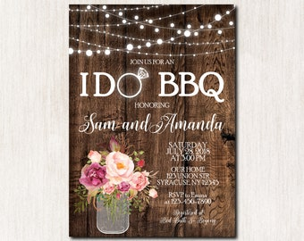 I Do BBQ Invitation, I Do bbq Wedding Shower, I Do bbq Couples Shower Invitation, I Do bbq Bridal Shower, Engagement Invitation - 1822