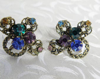 Colorful Rhinestones Clipback Earrings Austria