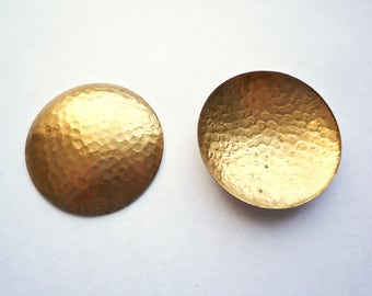 6 Large round domed hammered brass blanks, 35 mm brass domed circles