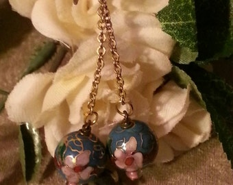 CLEARANCE Blue Cloisonne Vintage Chain Dangle Earrings Floral Print With Pink Gold and Burgundy