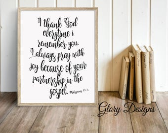 PRINTABLE, Bible Verse printable, I thank God every time I remember you, Bible Verse, Philippians 1:3-5, Scripture Art, Scripture printable