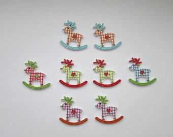 Reindeer 8 Wooden Buttons 29 x 29 mm