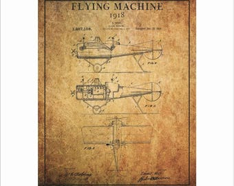 Airplane Patent Art, Patent Blueprint Art, Vintage Airplane Print,  Aircraft Wall Art, Flying Machine Decor, PP40
