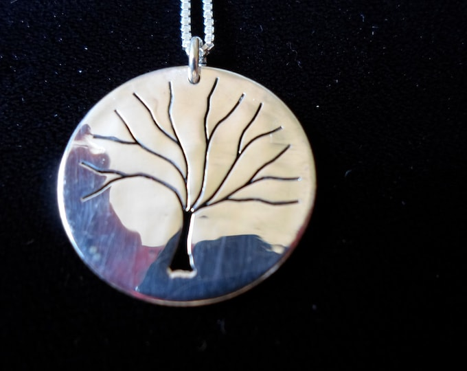 """Tree of Life necklace w/ 18"""" sterling silver chain Quarter size"""