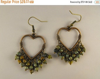 TAX Season Sale La Luxe Amor. Unakite and Antique FInish Copper Heart  Drop Earrings
