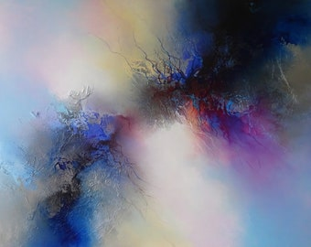 Unique, abstract mixed media painting on large canvas by artist Simon Kenny 'Enlightenment'