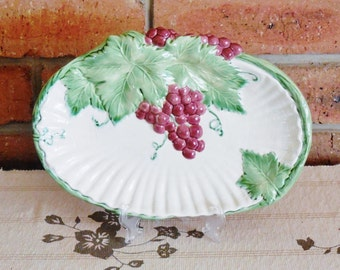 Majolica white small serving platter dish vine leaves and grapes unmarked unbranded 1960s