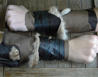 Leather Cuffs - Warrior Viking Tribal Larp Costume Cosplay - Pair #11a