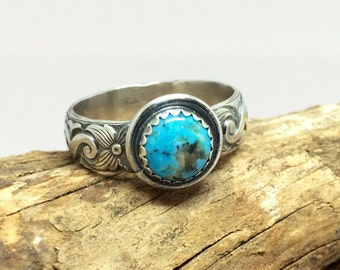 Western Style, Turquoise Ring For Men, Wide Ring Band, Sterling Turquoise Stone Ring