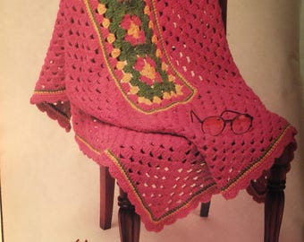 Pdf 1989  Vintage Quick & Easy granny afghan pattern,Quick and easy crochet afghan pattern ,crochet  afghan pattern .