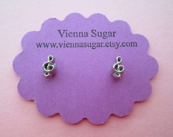 Tiny Silver Treble Clef Music Note Magnetic Clip On Earrings or Hypoallergenic Plastic Post Studs
