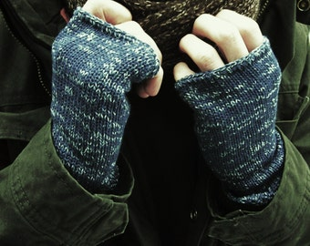 Knit Mens Mittens, indigo blue mottled, Cuffs For Him, Fingerless Gloves, Mens Armwarmers Wristwarmers Trend-Accessories For Him