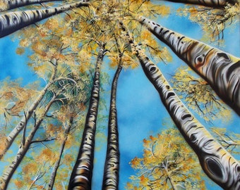 Abstract Aspens XXIII - Print of Surreal Abstract Landscape Art