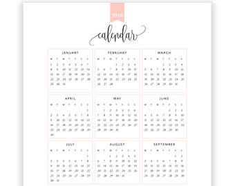2018 Year at a Glance Calendar, Year Printable Planner, Yearly Planner Printable, year at a glance, INSTANT DOWNLOAD