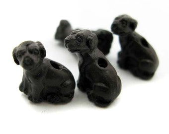 10 Tiny Brown Lab Beads