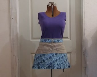 Upcycled Khaki Denim and Blue Floral Apron