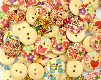 Wooden Flower Buttons - Set of 10 Flowers Crafting Sewing Buttons