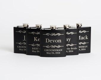 Engraved Groomsmen Gift, Personalized Flasks, Black Stainless Steel Flasks, Wedding Party Flasks