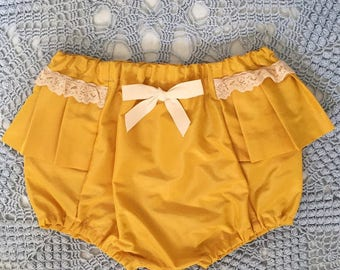 Yellow Pleated bloomers with Vintage Lace