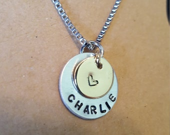 Hand stamped name pendant