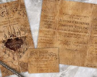 Harry Potter Wedding Invitations Marauders Map Inspired