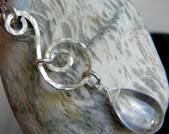 Hammered sterling silver swirl necklace with large smooth pink rose quartz briolette - Handmade gemstone jewelry